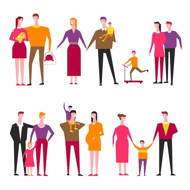 Famiglia con bambini cartoon vettoriale genitori e figli Vettore Premium