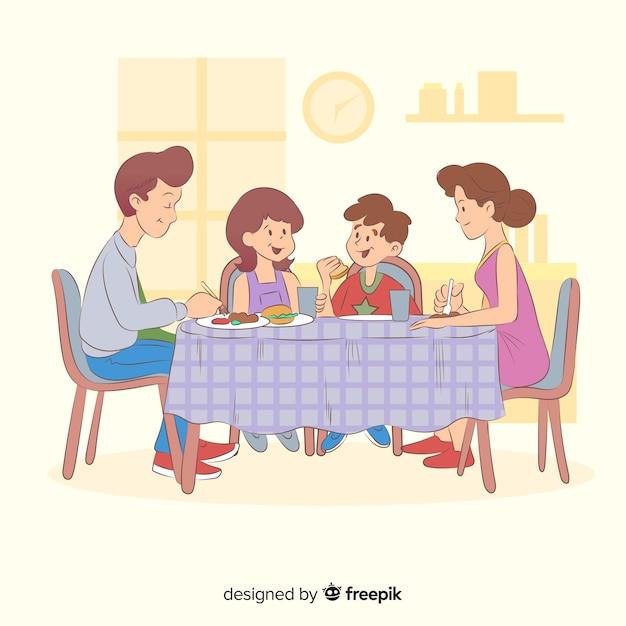 Famiglia del fumetto che si siede intorno all'illustrazione della tabella Vettore gratuito