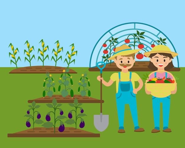Famiglia del giardiniere, giardino rurale con verdure eco. Vettore Premium