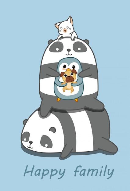 Famiglia di animali felice nello stile del fumetto. Vettore Premium
