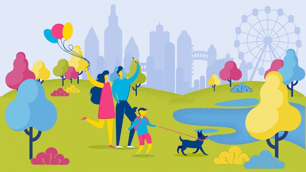 Famiglia di cartoni animati con cane divertendosi al parco cittadino Vettore Premium