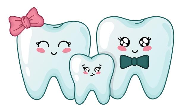 Famiglia di denti kawaii - simpatici personaggi dei cartoni animati Vettore Premium