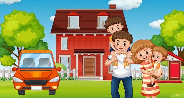 Famiglia di fronte a casa Vettore gratuito