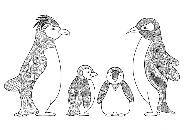 Famiglia di pinguini disegnata a mano Vettore gratuito
