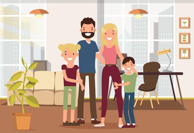 Famiglia di trascorrere del tempo insieme in salotto. Vettore Premium