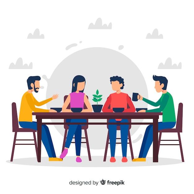 Famiglia disegnata a mano che si siede intorno all'illustrazione della tavola Vettore gratuito