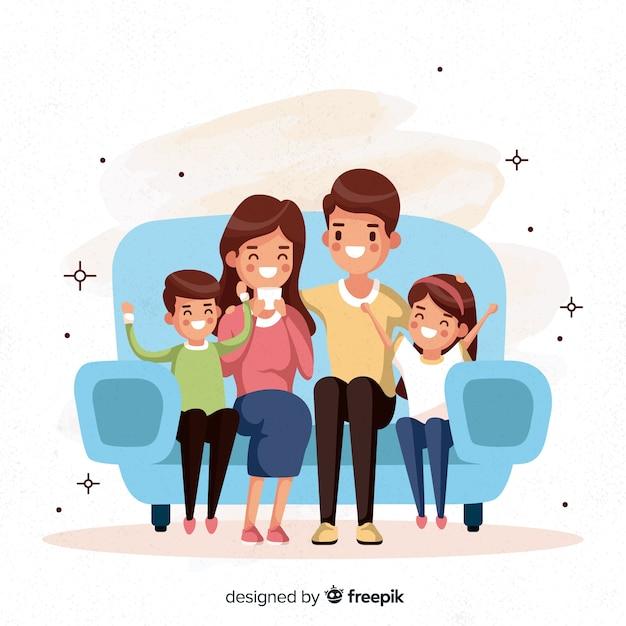 Famiglia disegnata a mano che si siede sullo sfondo divano Vettore gratuito