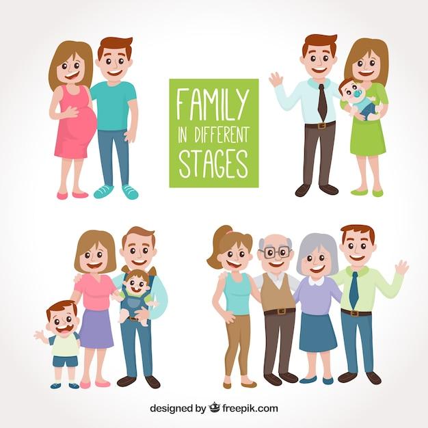 Famiglia disegnata a mano in diverse fasi della vita Vettore gratuito