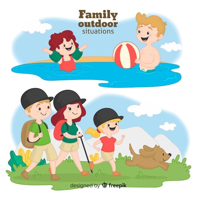 Famiglia disegnata a mano in un viaggio Vettore gratuito