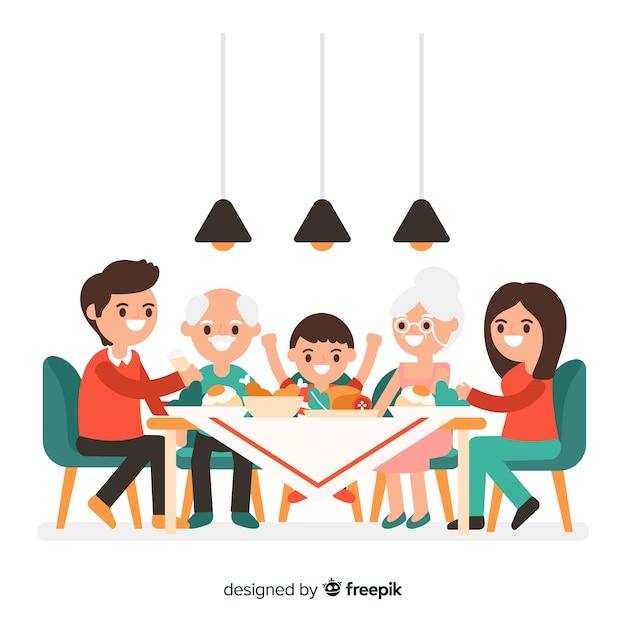 Famiglia disegnata a mano intorno al tavolo Vettore gratuito