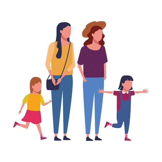 Famiglia e cartoni animati per bambini Vettore Premium