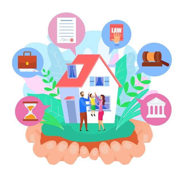 Famiglia e casa Vettore Premium