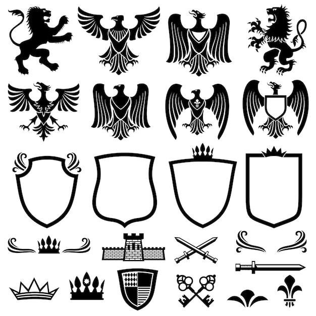 Famiglia elementi vettoriali stemma Vettore Premium