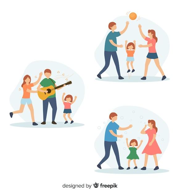Famiglia facendo attività all'aperto Vettore gratuito