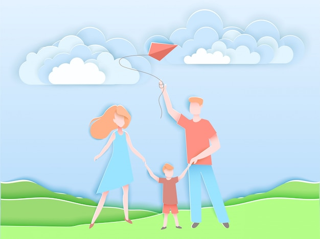 Famiglia felice che cammina in un parco con il bambino. Vettore Premium