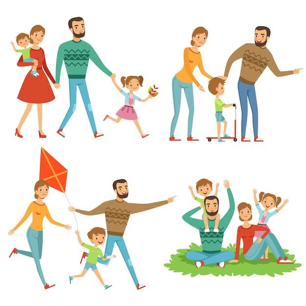 Famiglia felice che cammina nel parco. Vettore Premium