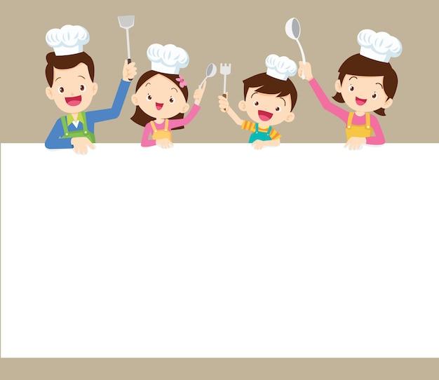 Famiglia felice che cucina con la priorità bassa in bianco Vettore Premium
