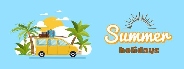 Famiglia felice che guida in auto durante le vacanze del fine settimana, le vacanze estive, la pianificazione delle vacanze estive, i viaggi in auto, le vacanze estive, il turismo e il tema delle vacanze. illustrazione vettoriale design piatto Vettore Premium