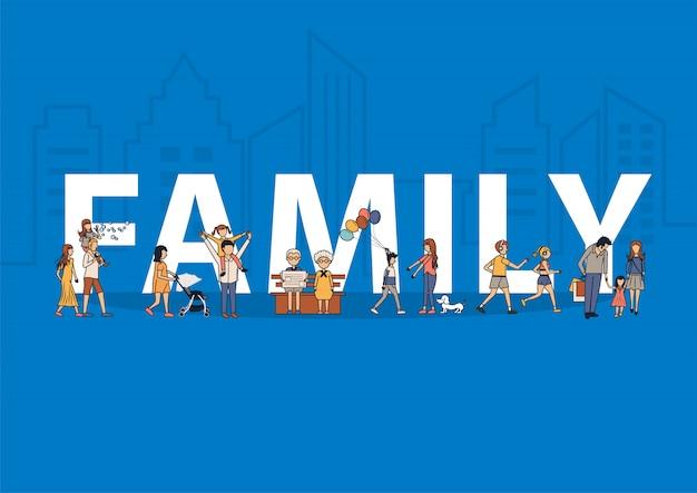 Famiglia felice che si diverte concetto di idea di stile di vita con grandi lettere piatte Vettore Premium