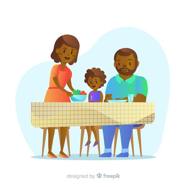 Famiglia felice che si siede al tavolo, character design Vettore gratuito