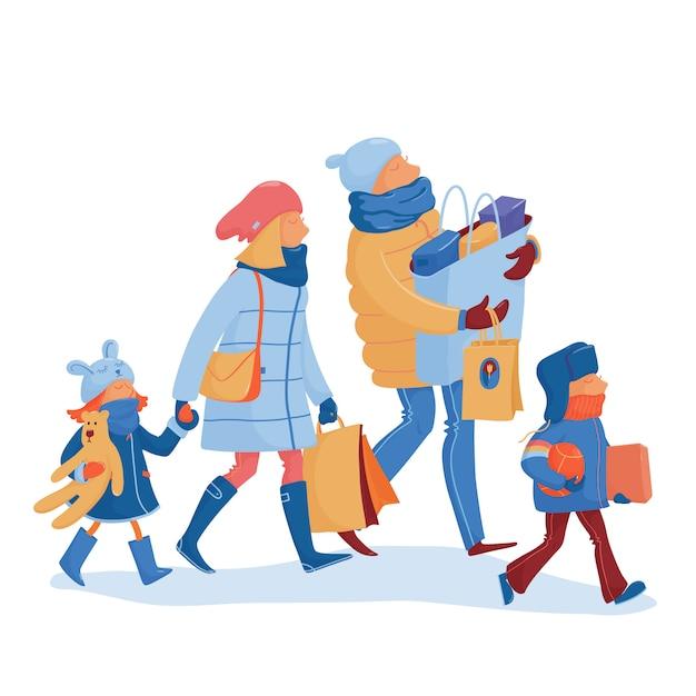 Famiglia felice che va a casa dall'illustrazione di vendita di inverno Vettore Premium