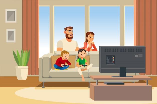 Famiglia felice day out fumetto illustrazione vettoriale Vettore Premium