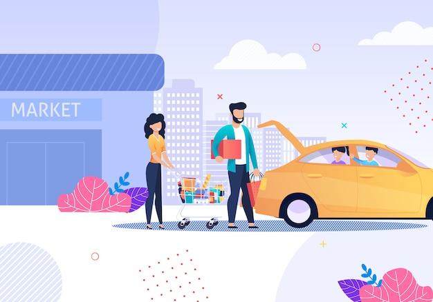 Famiglia felice dopo lo shopping e il servizio taxi cartoon. Vettore Premium