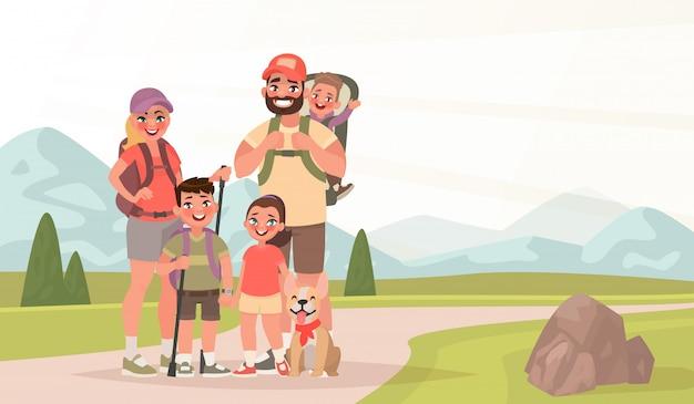 Famiglia felice ed escursioni. padre, madre e figli viaggiano attraverso le montagne. trekking nella natura Vettore Premium