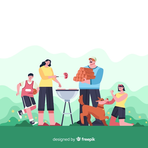 Famiglia felice facendo attività all'aperto. design del personaggio Vettore gratuito