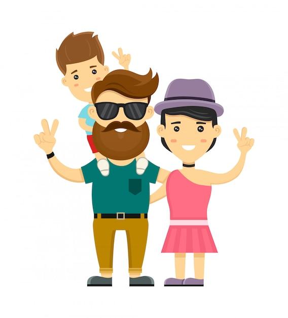 Famiglia felice giovane hipster. personaggio illustrazione piatta. isolato su bianco madre, padre, figlio piccolo Vettore Premium