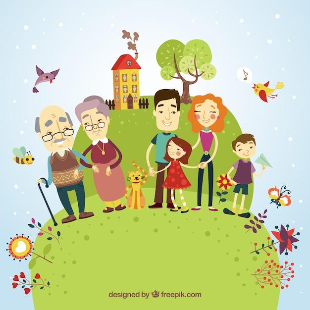 Famiglia felice illustrazione Vettore gratuito