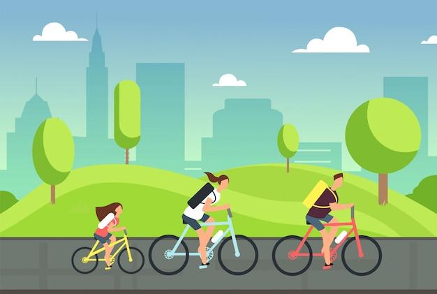 Famiglia felice in bicicletta. estate sana in bicicletta con i bambini nel parco. le persone attive vanno in bicicletta. stile di vita sportivo Vettore Premium