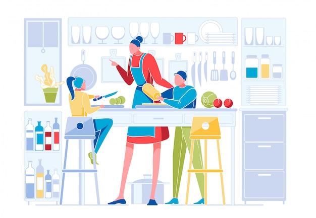 Famiglia felice in cucina. madre che insegna ai bambini Vettore Premium