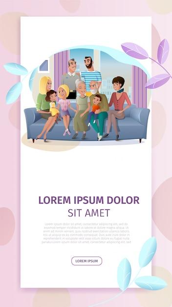 Famiglia felice incontro cartoon web banner vettoriale Vettore gratuito