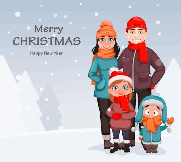Famiglia felice, madre, padre e figli Vettore Premium