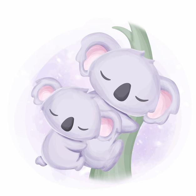 Famiglia felice mamma e bambino koala Vettore Premium