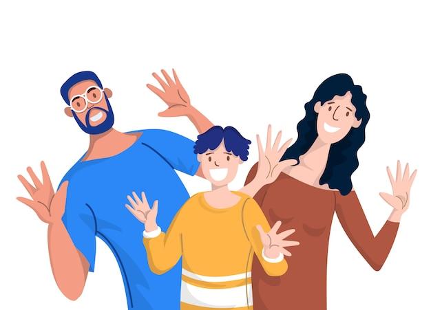 Famiglia felice. padre, madre e figli. Vettore Premium