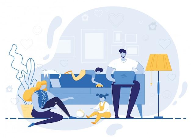 Famiglia felice tempo libero in serata o nel fine settimana Vettore Premium