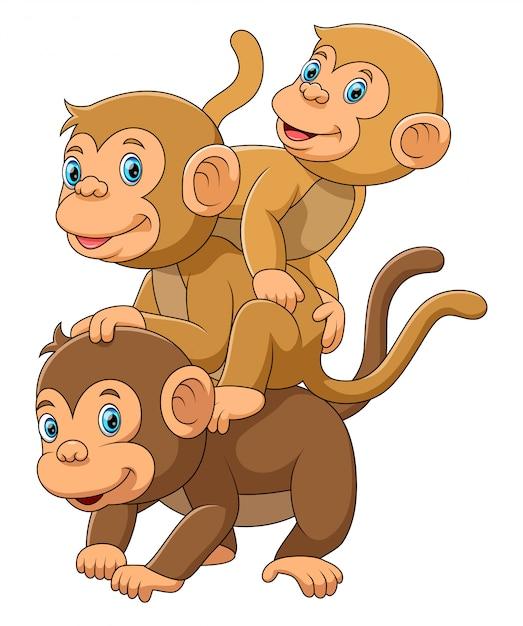 Famiglia happy monkey con i suoi due bambini Vettore Premium