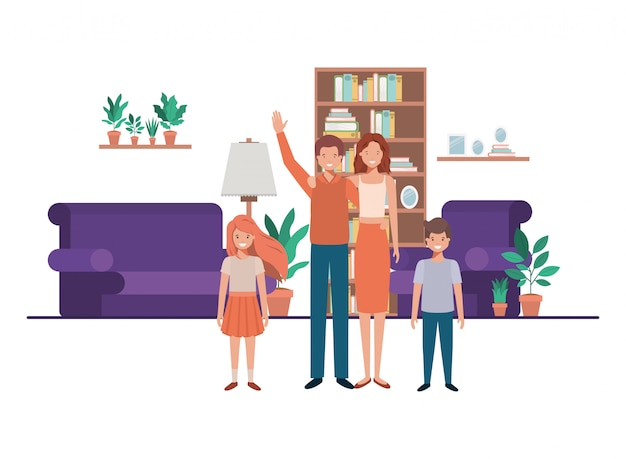 Famiglia in soggiorno con personaggio avatar biblioteca Vettore Premium
