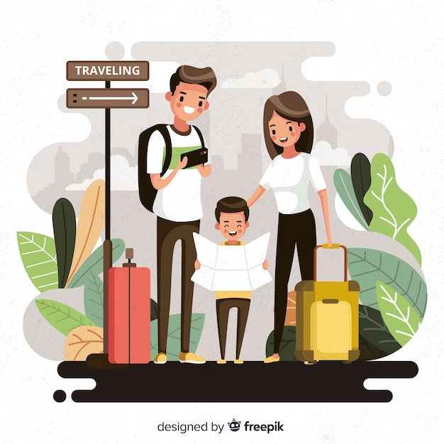 Famiglia in viaggio Vettore gratuito