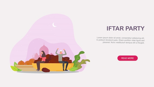 Famiglia islamica iftar che mangia dopo la pagina di destinazione di digiuno Vettore Premium