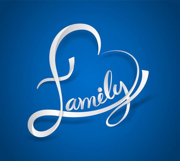 Famiglia lettering a forma di cuore Vettore Premium