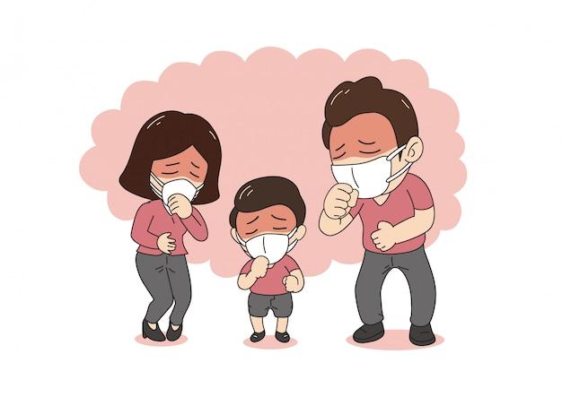 Famiglia malata di concetto di inquinamento atmosferico che tossisce e che indossa la maschera di protezione contro il fumo su fondo Vettore Premium