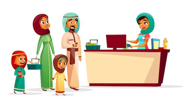 Famiglia musulmana al banco cassa di uomo e donna saudita in khaliji Vettore gratuito