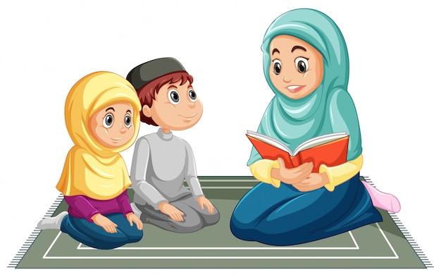 Famiglia musulmana araba in abbigliamento tradizionale nella posizione di preghiera isolata su fondo bianco Vettore gratuito