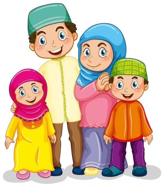 Famiglia musulmana Vettore gratuito