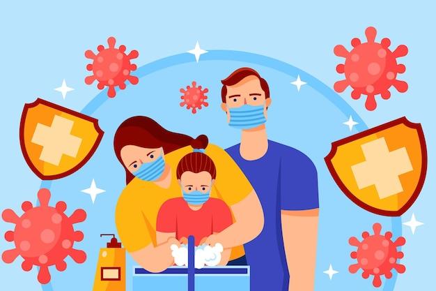 Famiglia protetta da virus Vettore gratuito