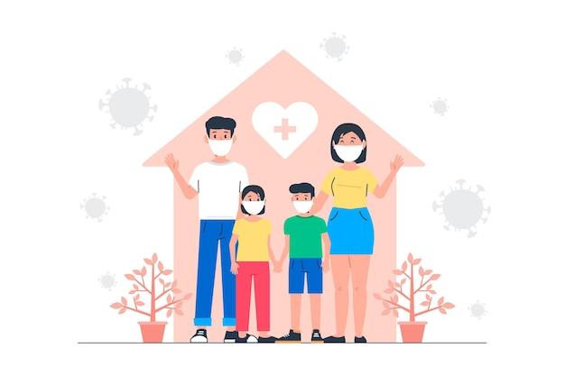 Famiglia protetta dal concetto di virus Vettore gratuito