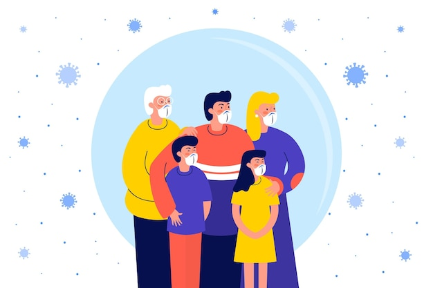Famiglia protetta dal virus illustrato Vettore gratuito